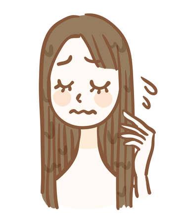 A woman whose hair is sticky due to moisture Ilustração
