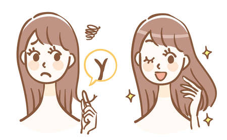 Illustration before and after hair care