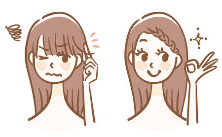 How to organize your bangs Before after 矢量图像