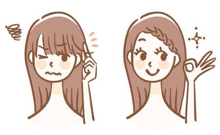 How to organize your bangs Before after Ilustração