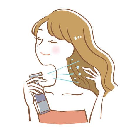 Woman doing hair mist Illustration