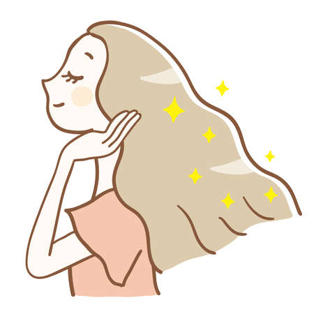 Illustration of a woman with beautiful hair