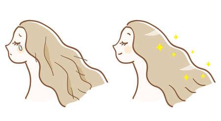 Before and after hair care Ilustração