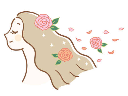 Woman with rose scented hair