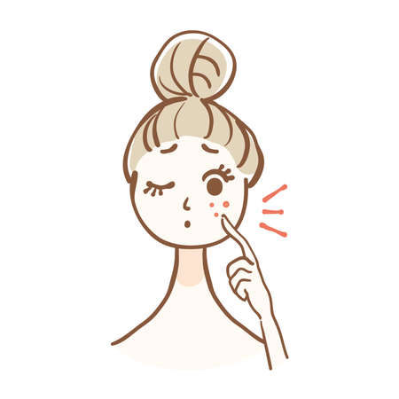 Illustration of a woman with acne 矢量图像