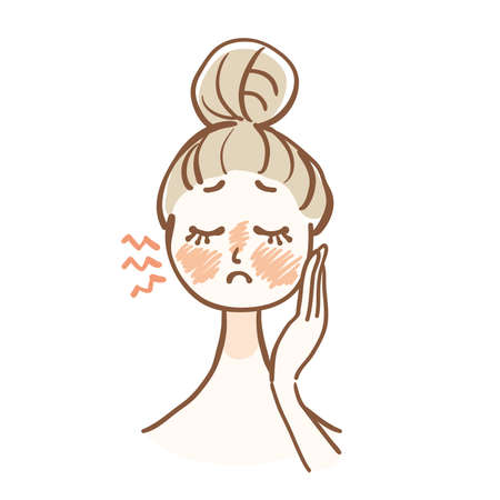 Illustration of a woman who is concerned about the redness of the skin