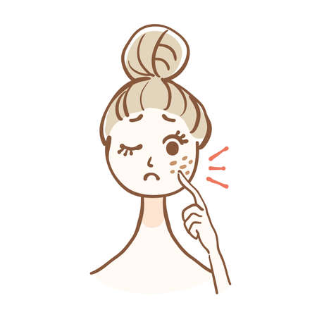 Illustration of woman who is worried about stains on face