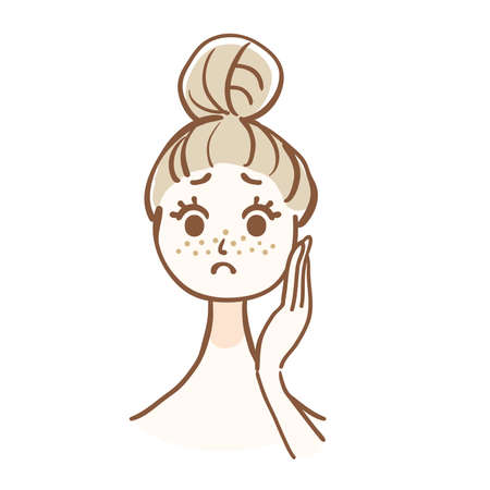 Illustration of woman who is worried about dirt of pores Illustration