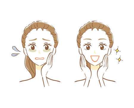 Illustration of before and after skin care