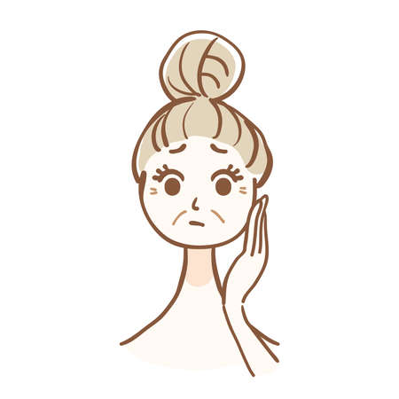 Illustration of a woman who cares about the wrinkles of the face