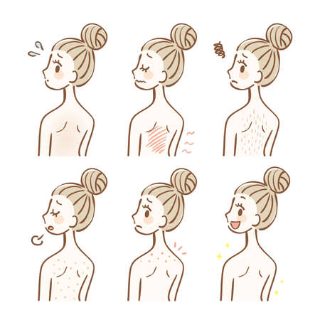 Illustration set of back skin trouble 矢量图像