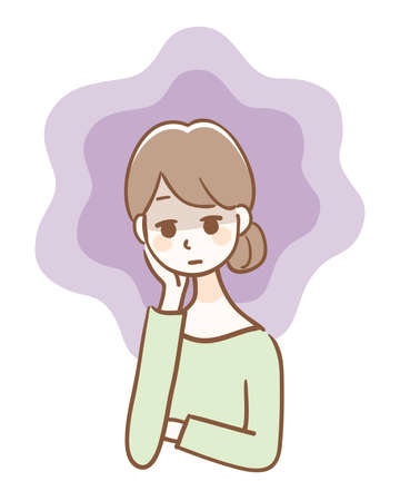 Illustration of a woman with depression 矢量图像