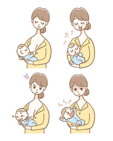 Illustration set of mother taking care of baby Illustration