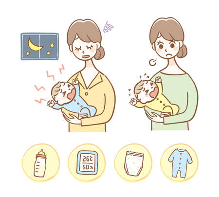 Crying baby and icon set