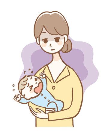Illustration of mother of postpartum depression 矢量图像
