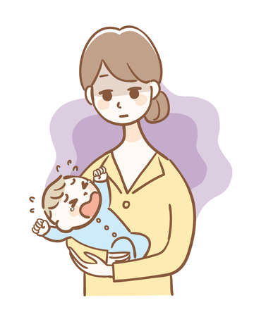 Illustration of mother of postpartum depression Illustration
