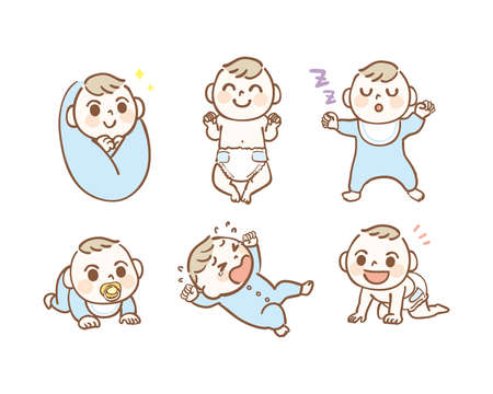 Illustration set of various baby poses