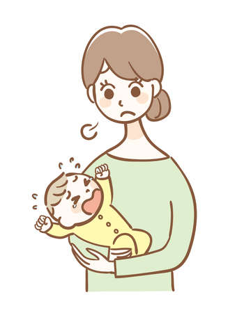 Mother in trouble with a crying baby Illustration