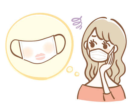 A woman suffering from makeup on a hygiene mask
