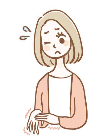 Young woman in trouble with numb hands 矢量图像