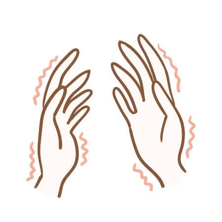 Illustration of hands cramping