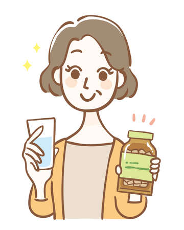 Illustration of a middle-aged woman with supplements Illustration