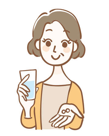 Middle-aged woman with pills and water