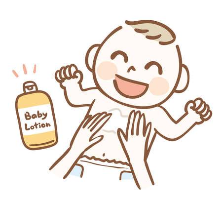 Baby moisturizing with baby lotion Illustration