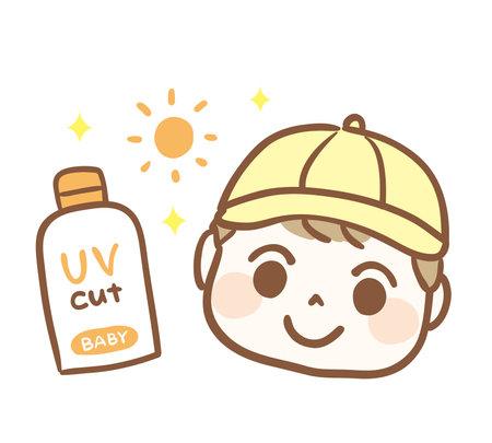 Sunscreen cream and baby illustration 矢量图像