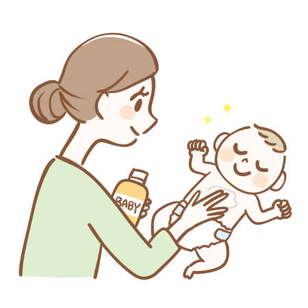 Illustration of a mother moisturizing the baby's body