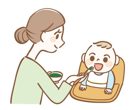 Illustration of a mother feeding baby food