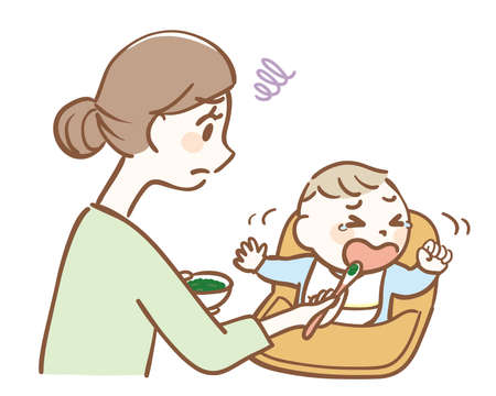 Illustration of a baby who dislikes baby food 矢量图像