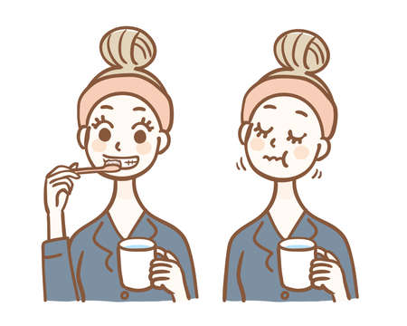 A woman in pajamas brushing her teeth and gargling