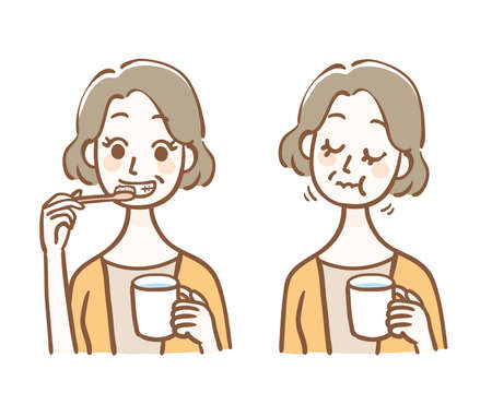 Middle-aged woman brushing her teeth and gargling 矢量图像
