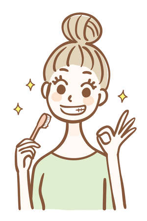 Young woman holding a toothbrush and signing OK 矢量图像