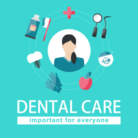 Vector Illustration. Dental care elements on green background. Important for everyone