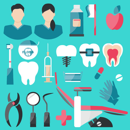 Vector Illustration. Dental Flat Icons Set on green background. Vector Illustration for Dentistry and Orthodontics. Man, woman, tooth brash, toothpaste, floss, apple, pills, medical gloves, teeth, dentist chair, dressing