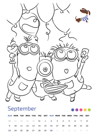Vector Illustration Drawing Calendar A4 Minions September 2018 Year Of The Dog