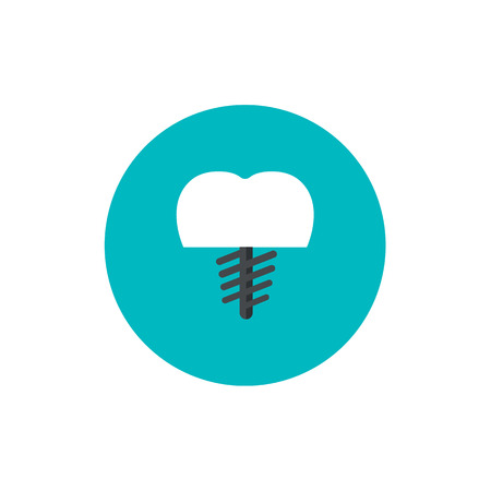 Vector Illustration for Dentistry and Orthodontics. Dental core flat icon on green circle background