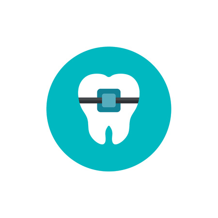Vector Illustration for Dentistry and Orthodontie.Tooth braces flat icon on green circle background Ilustracja