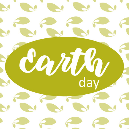 Vector Illustration. Earth day poste on green leafs background Vettoriali