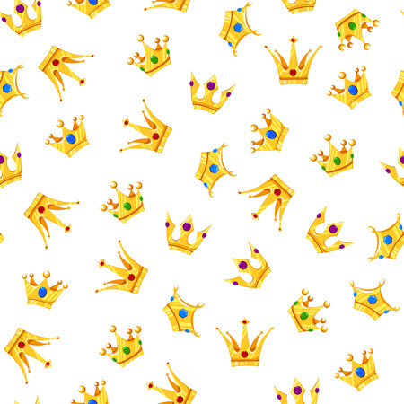 Vector Illustration. Cartoon crowns pattern with different crowns