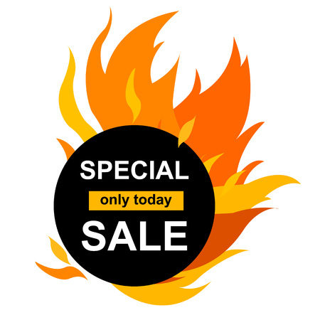 Vector Illustration. Circle banner with Special sale. Black card for hot offer with frame fire graphic Template