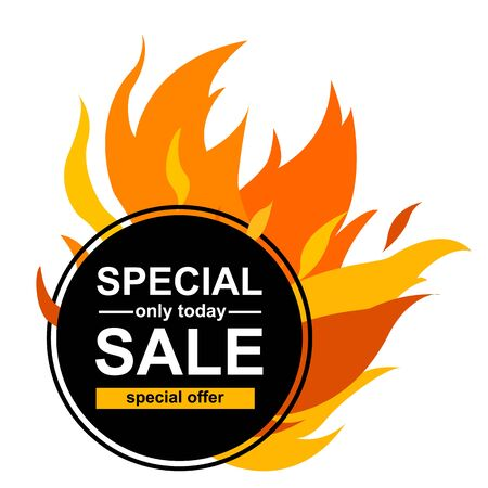 Circle banner with special sale. Black card for hot offer with frame fire graphic vector illustration.