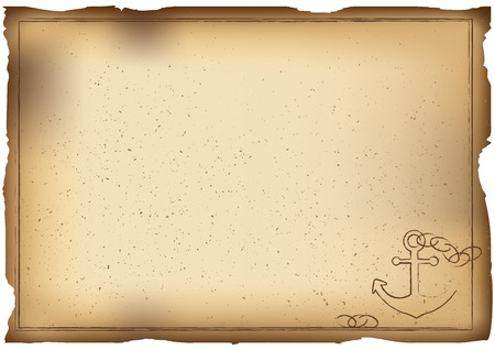 Vector Illustration. Old paper background with anchor. Horizontal A4 template