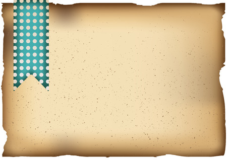 Vector Illustration. Old paper background. Horizontal A4 template with green polka-dot