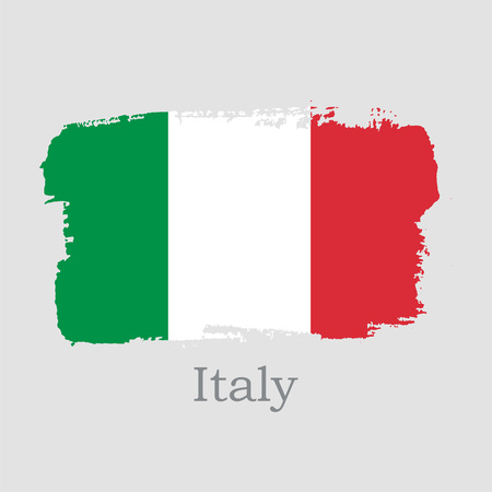 Vector Illustration. Hand draw Italy flag. National Italy banner for design on grey background