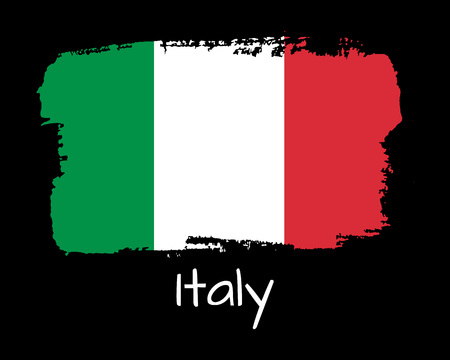 Vector Illustration. Hand draw Italy flag. National Italy banner for design on black background