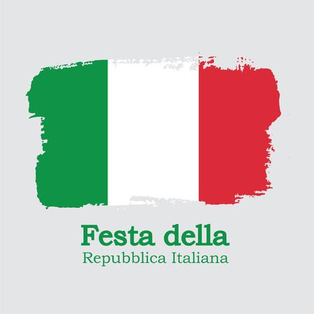 Vector Illustration. Hand draw Italy flag. National Italy banner for design. Festa della Repubblica Italiana Illusztráció