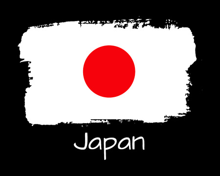 Vector Illustration. Hand draw Japan flag. National Japan banner for design on black background